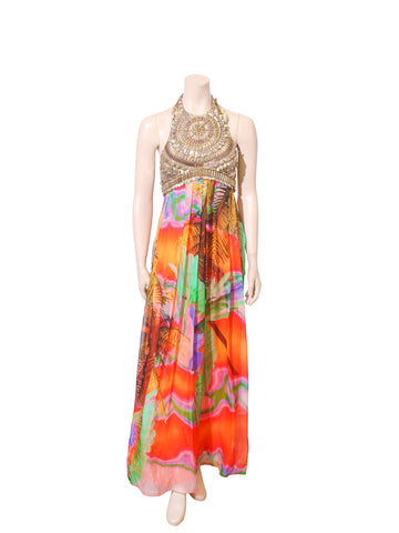 Matthew Williamson Beaded Printed Silk Dress