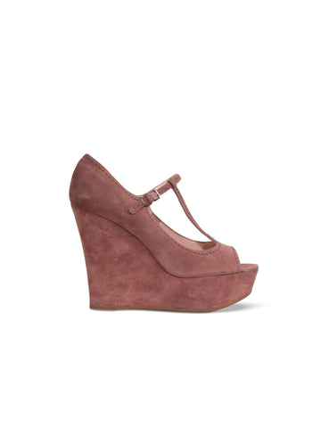 Miu Miu Suede Peep-Toe Wedge Sandals