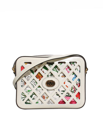 New Gucci Traforata Leather Cutout Flora Shoulder Bag