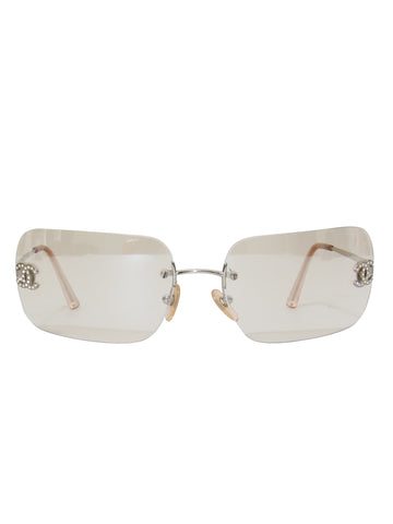 Chanel Vintage Rimless CC Sunglasses