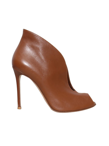 Gianvito Rossi Leather Open-Toe Booties