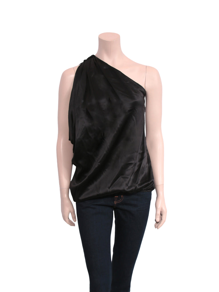 Lanvin One-Shoulder Silk Top