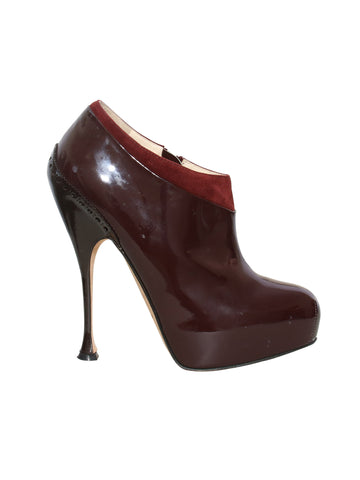 Brian Atwood Patent Leather Booties