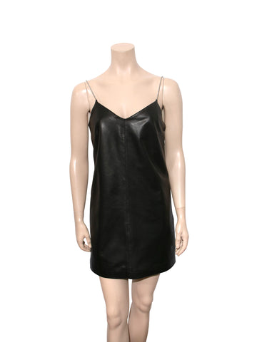 Lamarque Chanel Chain Strap Leather Slip Dress