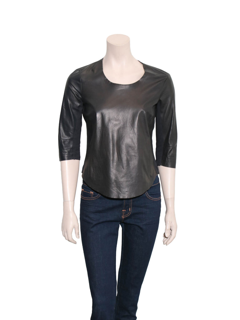 Raquel Allegra Leather Panelled Top