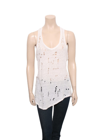 Iro Distressed Linen Tank Top