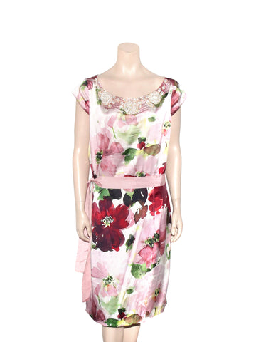 St. John Floral Beaded Dress
