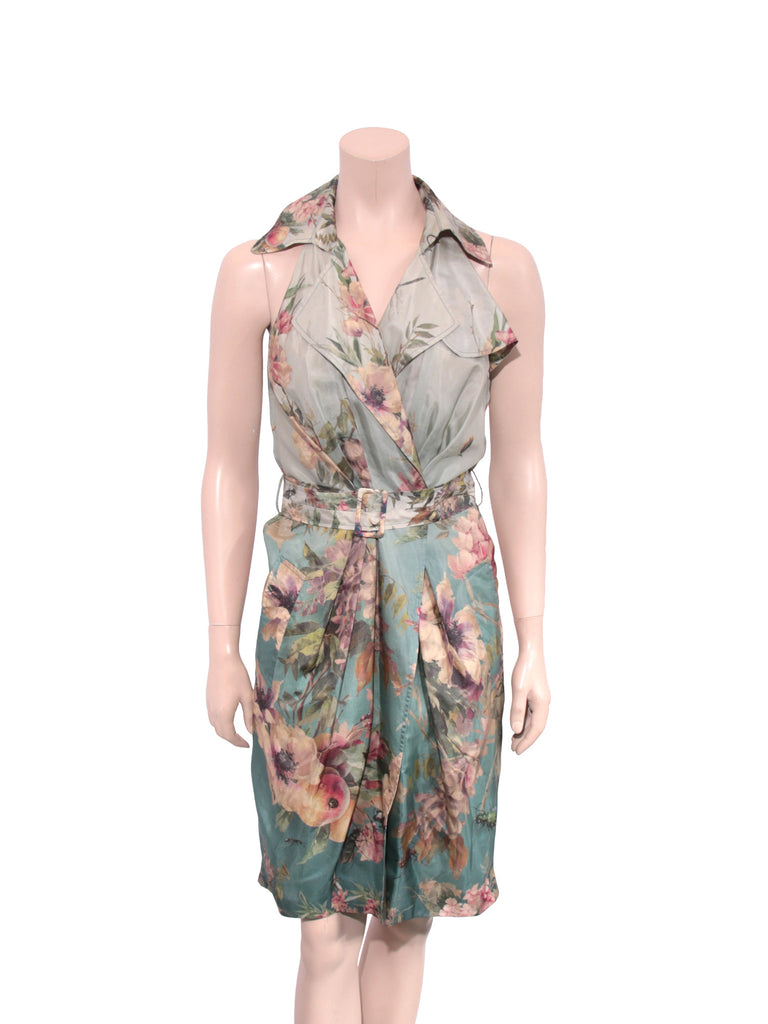 Jean Paul Gaultier Floral Silk Wrap Dress