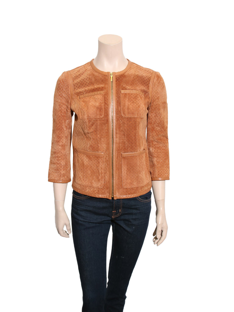Tory Burch Perforated Suede Jacket