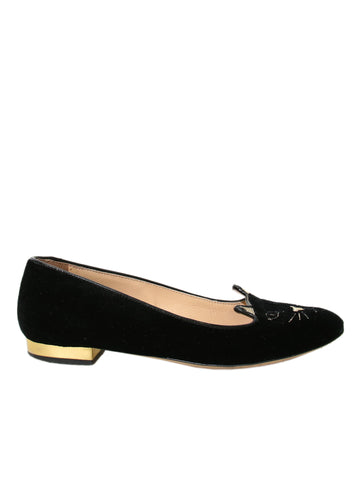 Charlotte Olympia Velvet Kitty Loafers