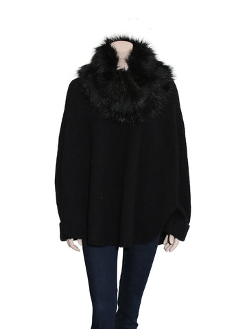 Michael Kors Poncho with Removable Faux Fur Collar