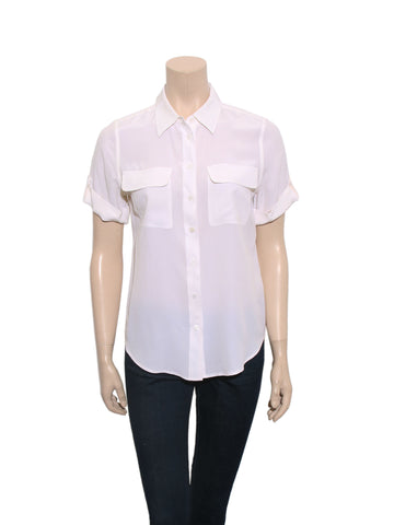 Equipment Short Sleeve Silk Blouse