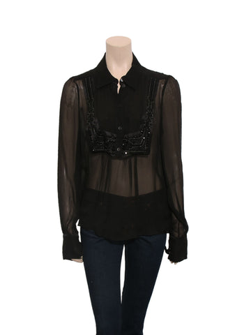 Celine Embellished Sheer Silk Blouse