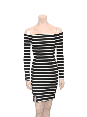 Nicholas Off-Shoulder Stripe Dress