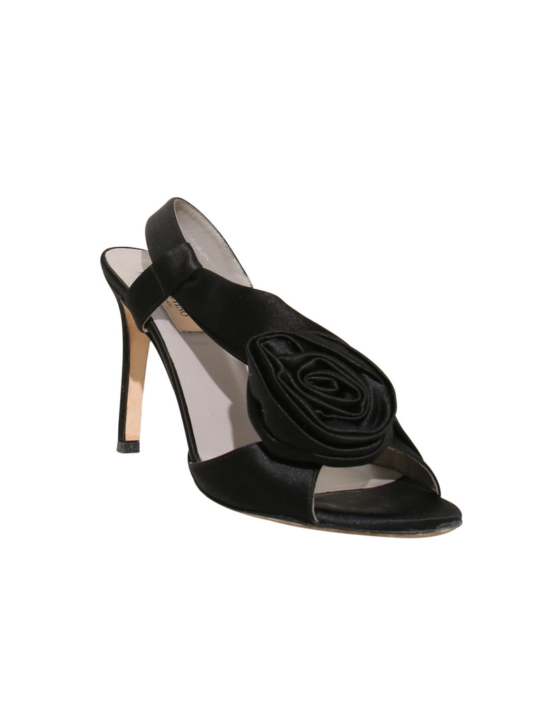 Valentino Satin Flower Slingback Sandals