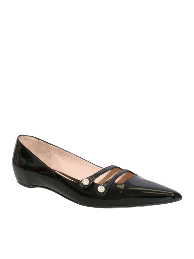 Gucci Aneta Patent Leather Pointed-Toe Flats