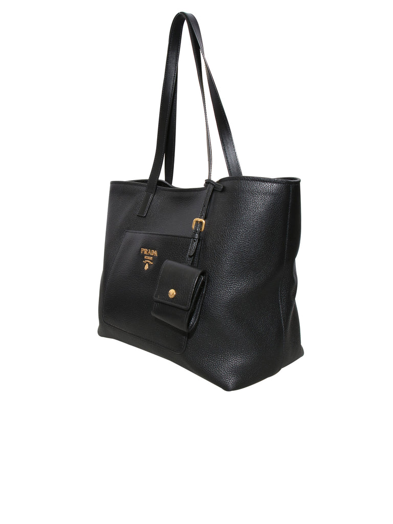 Prada Vitello Daino Pocket Leather Tote Bag