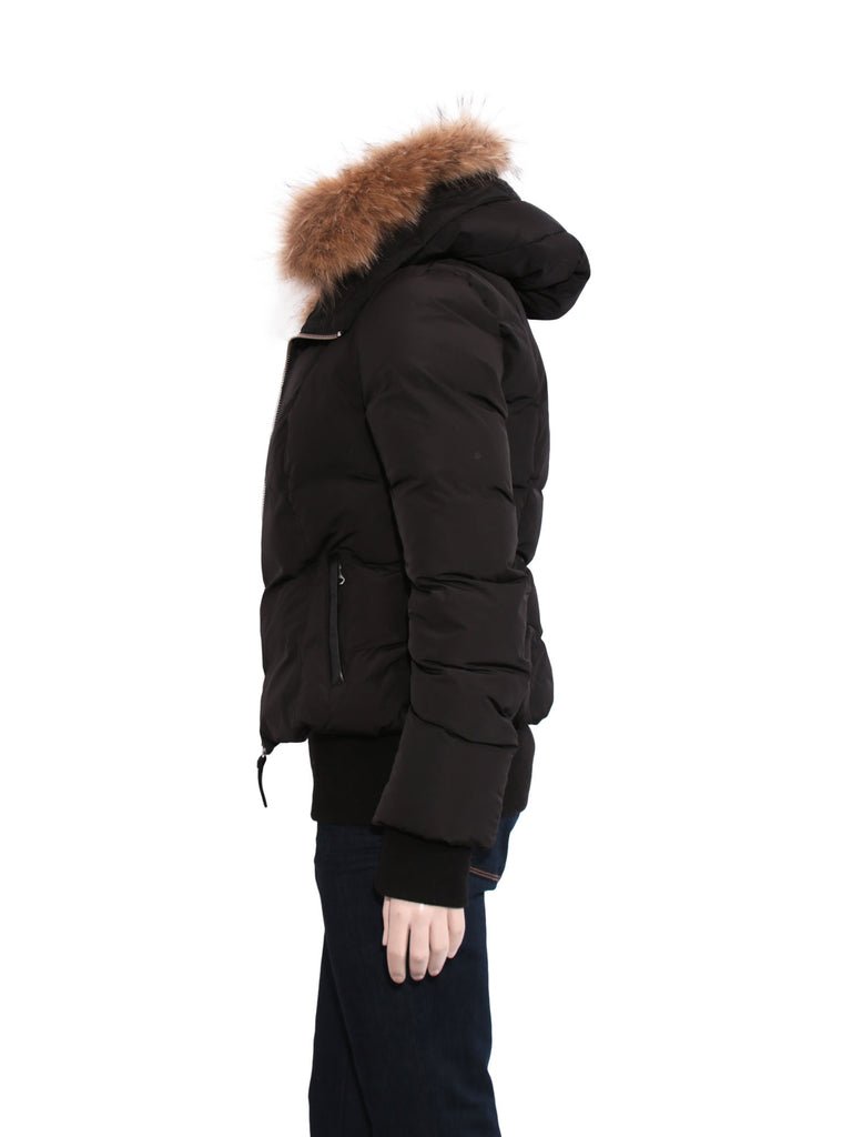 Mackage Romane Bomber Cut Down Jacket with Fur Hood