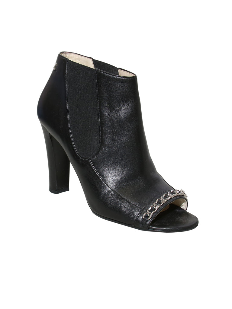 Chanel Open-Toe Leather Booties