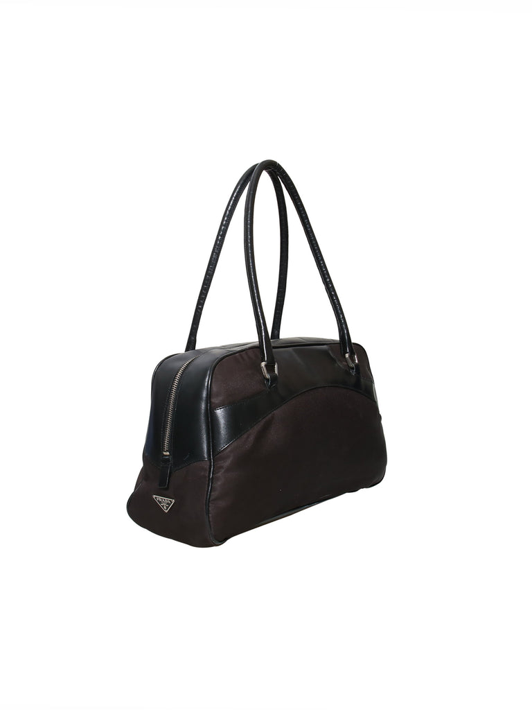 Prada Leather-Trimmed Bowling Bag