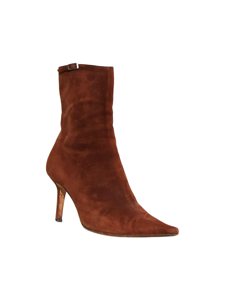 Sergio Rossi Suede Pointed Booties
