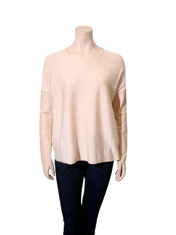Maje Leather Sleeve Silk Sweater