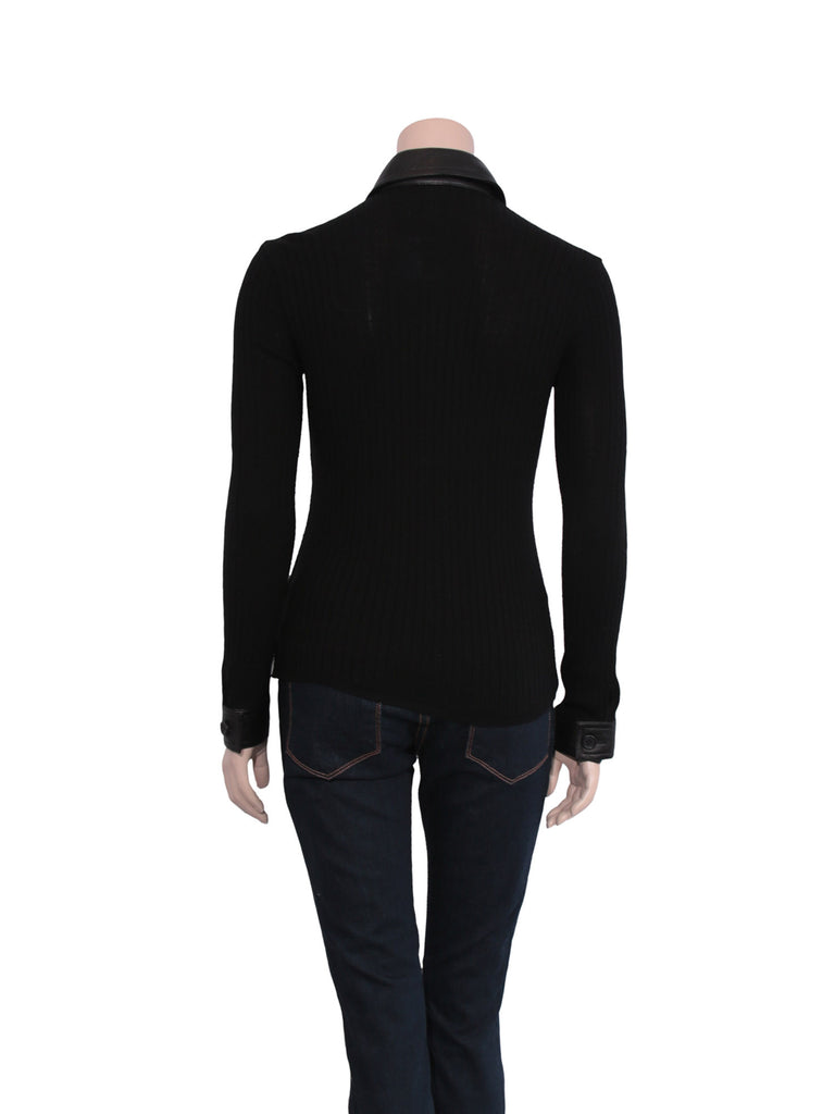 La Perla Ribbed Leather Detail Wool Sweater