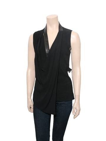 Alexander Wang Draped Leather Detail Top