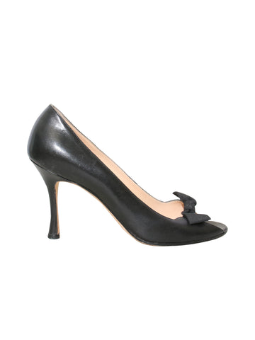 Manolo Blahnik Leather Peep-Toe Bow Pumps