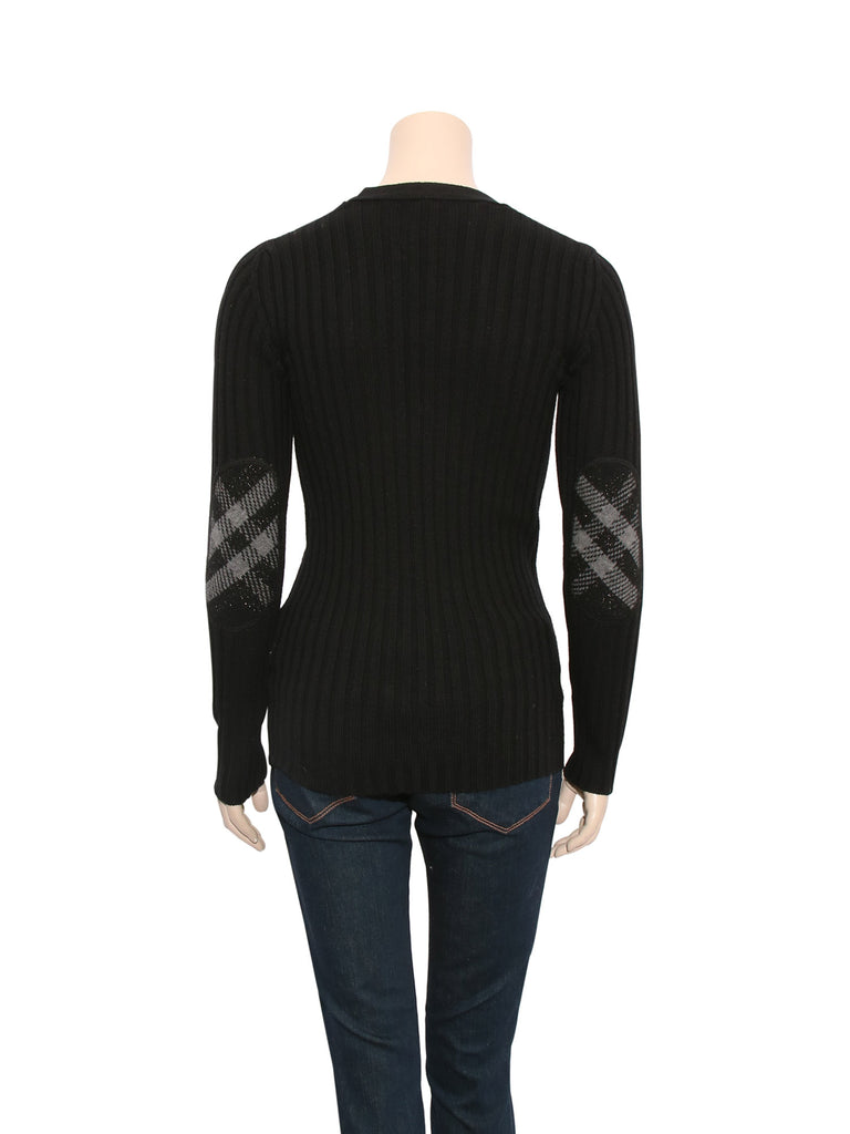 Burberry Check Elbow Ribbed Sweater