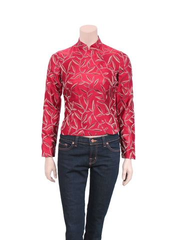 Prada Silk Mandarin Collar Top