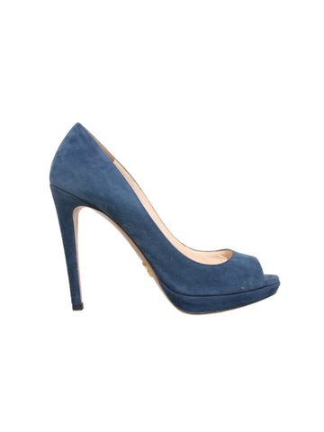 Prada Suede Peep-Toe Pumps