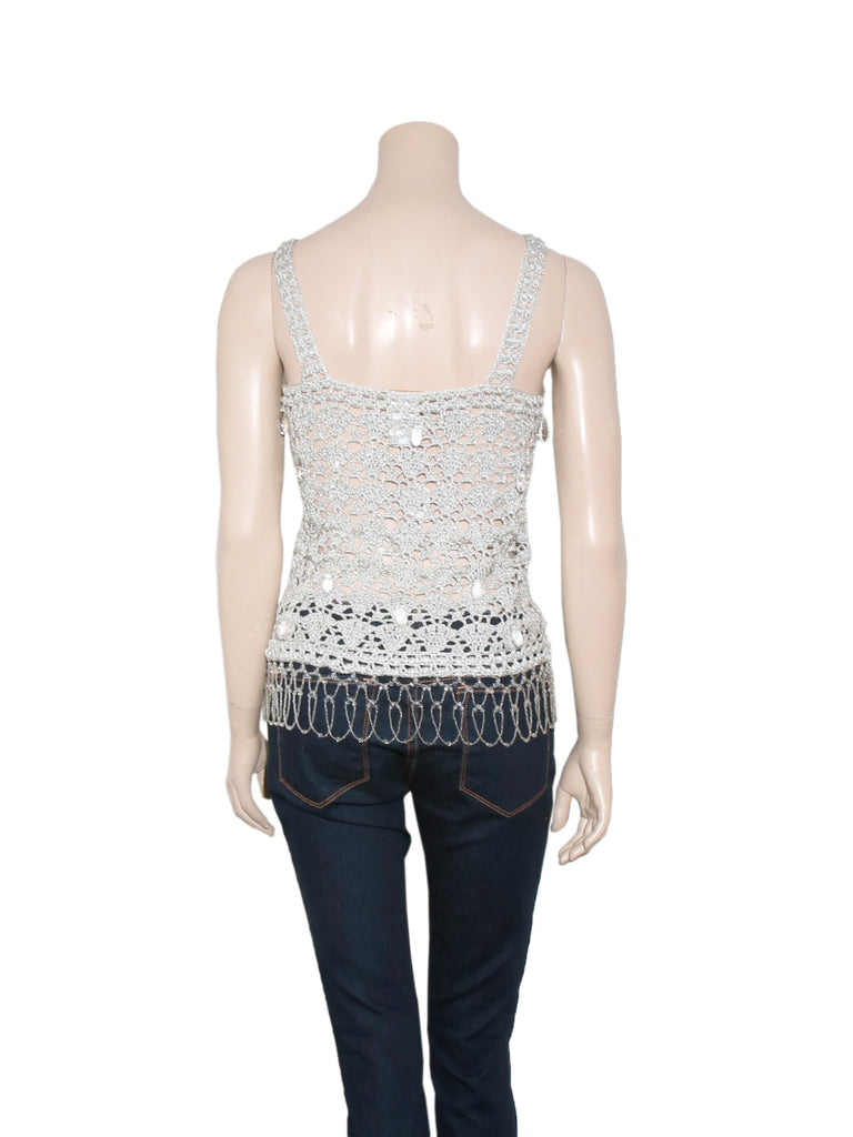 Galliano Crochet Shimmer Sleeveless Top