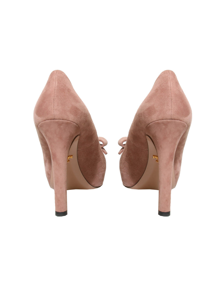 Prada Suede Bow Pumps