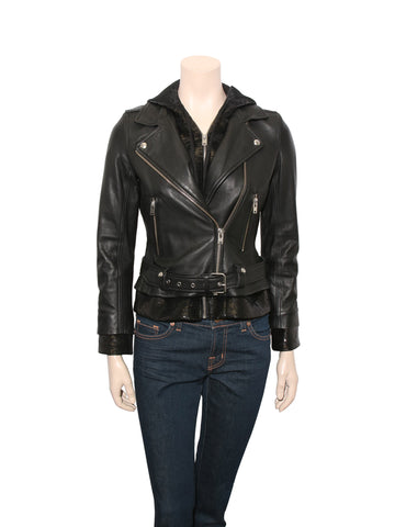 Iro Leather Biker Jacket with Sequin Hood