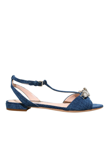 Miu Miu Embellished Denim Sandals