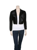 Elie Tahari Calf Leather Knit Cropped Cardi