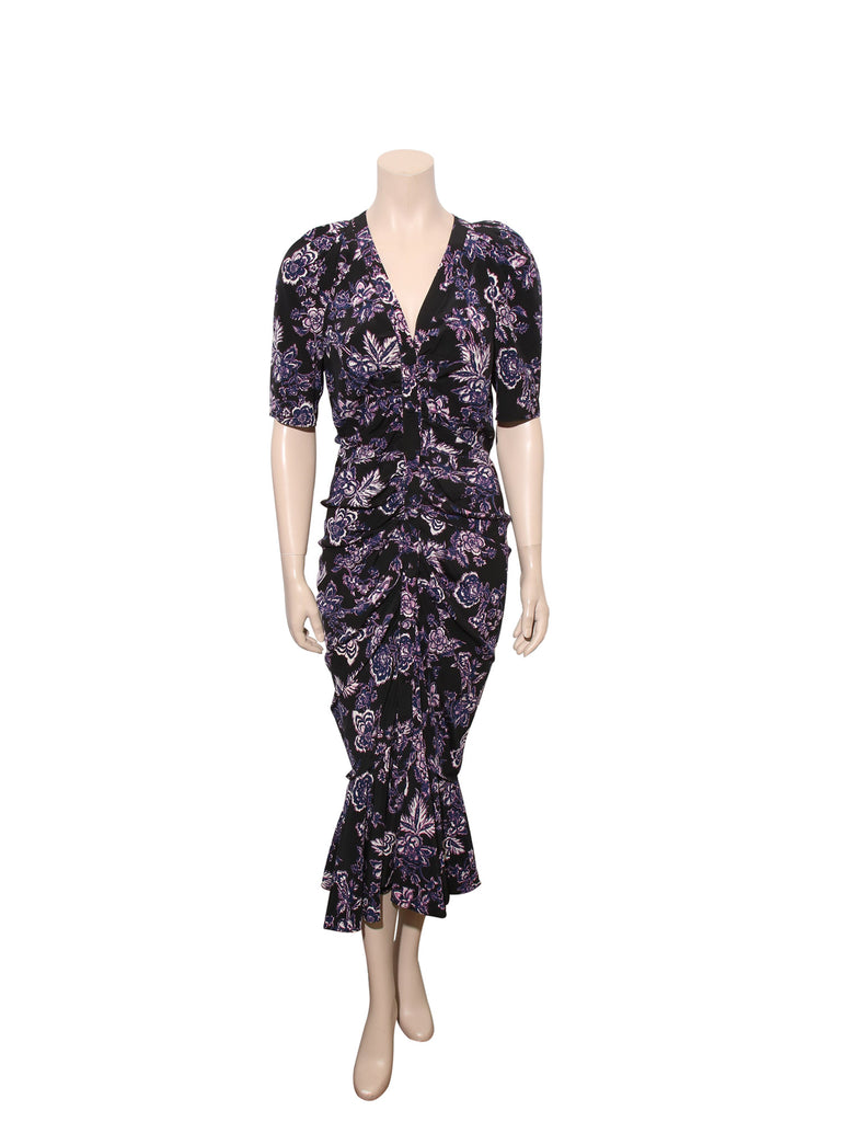 Veronica Beard Floral Print Ruched Kent Dress