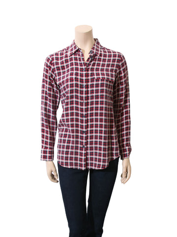 Equipment Silk Plaid Blouse