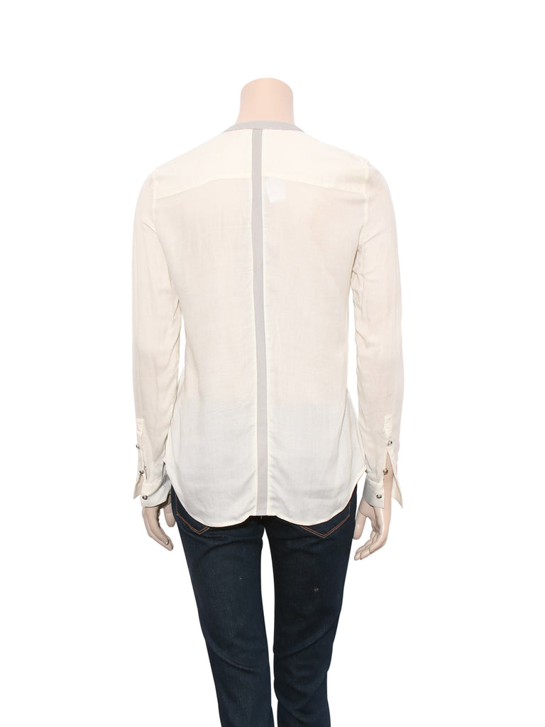 Helmut Lang Leather Detail Blouse