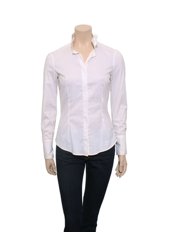 Brunello Cucinelli Monili-Trimmed Collar Shirt