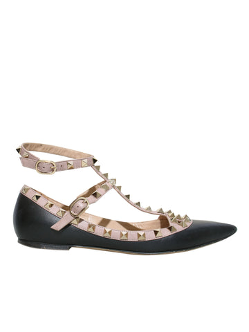 Valentino Rockstud Pointed-Toe Leather Flats