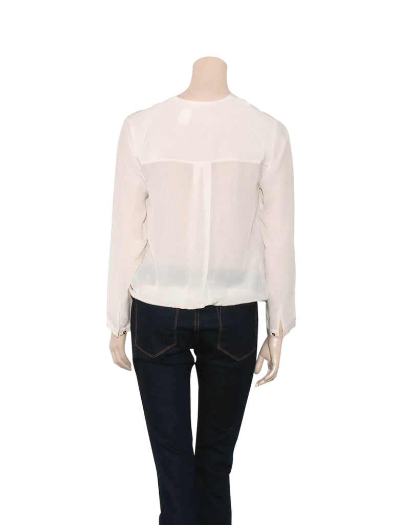 Club Monaco Draped Crossover Silk Blouse
