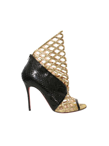 Christian Louboutin Metallic Python Bougliona Cutout Peep-Toe Booties
