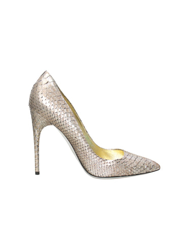 Tom Ford Metallic Snakeskin Pointed Pumps