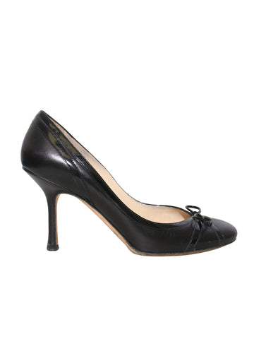 Jimmy Choo Round Toe Leather Bow Pumps