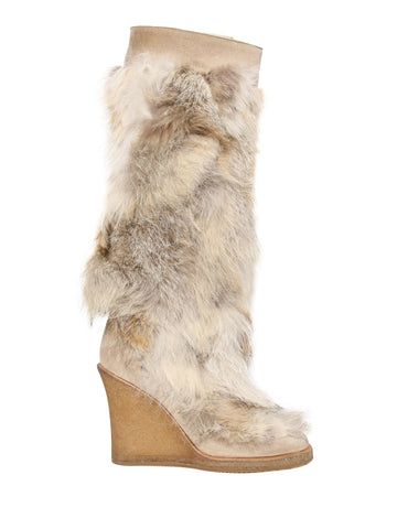 Christian Dior Fur Wedge Boots