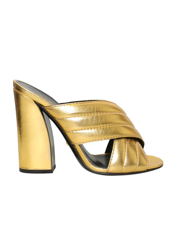 Gucci Webby Metallic Leather Sandals