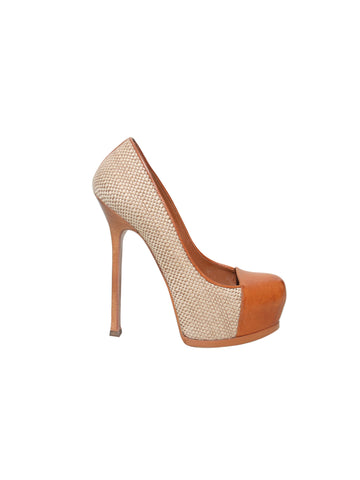 YSL Tribute Woven Platform Pumps