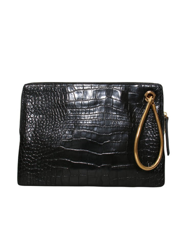 Lanvin Embossed Oversize Leather Clutch Bag